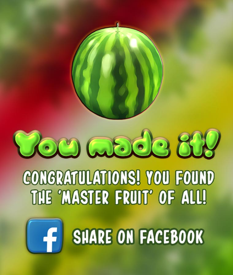 Reach to the end of the game and find the master fruit - watermelon