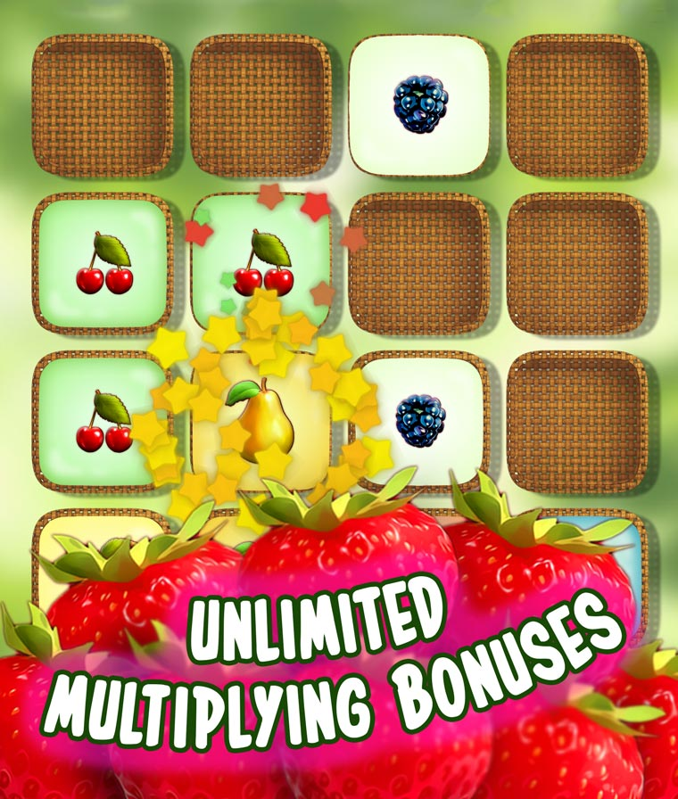 Combine the same type of fruit into baskets, multiply and get a larger fruit to score points.