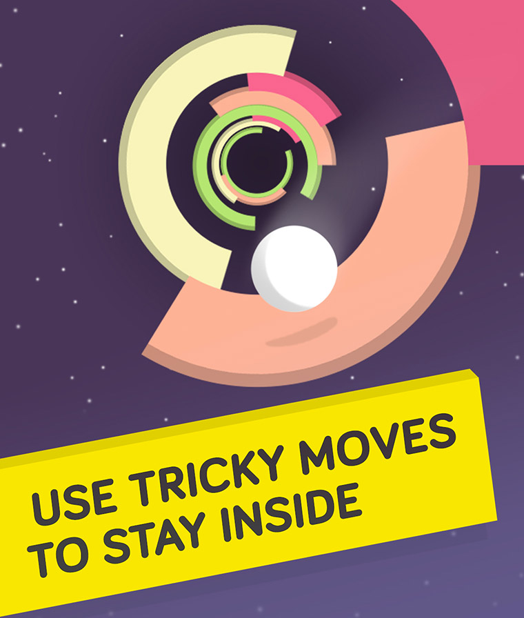 Navigate the ball carefully through the tube without falling into the black space.
